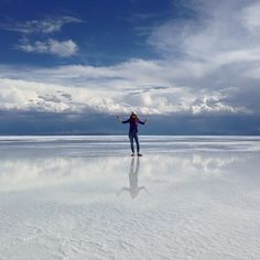Salar de Uyuni in Potosí, Potosí- During the rainy season, the world's largest salt flat becomes the world's largest mirror. The Salar was born when several prehistoric lakes joined into one. The salt flat is so reflective, it's used to calibrate satellites.