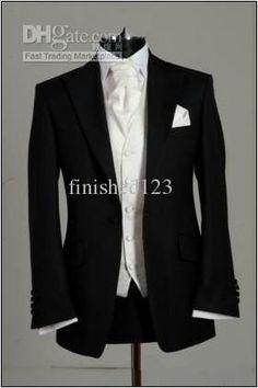 Custom-made Black Groom Tuxedos Wedding Groomsman Best man Suits (JacketPantsTieVest)