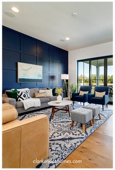 Blue Living Room Decor, Accent Walls In Living Room, Living Room Color Schemes, New Living Room, Living Room Designs, Navy Blue And Grey Living Room, Artwork For Living Room, Colour Schemes, Small Living