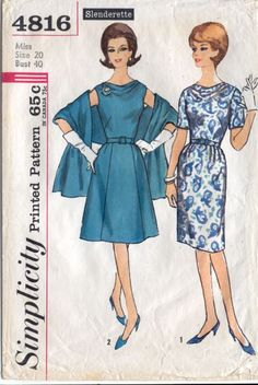 Simplicity 4816 Cowl Neckline Dress, Stole Pattern : Vintage Sewing Patterns, Heavens To Betsy Simplicity Sewing Patterns, Dress Sewing Patterns, Vintage Sewing Patterns, Clothing Patterns, 60s Patterns, Pattern Ideas, Sewing Ideas, Sewing Projects, Vintage Dresses