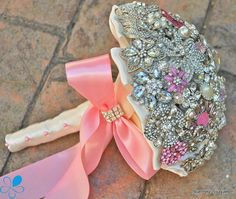 Pink Crystal Brooch Bouquet  by Blue Petyl  MEDIUM  by BluePetyl, $399.00