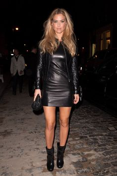 Bar Refaeli layered her leather at a cocktail party recently, topping | Hello, Leather: 24 Celebs Who Prefer a Much Edgier Kind of LBD | POPSUGAR Fashion