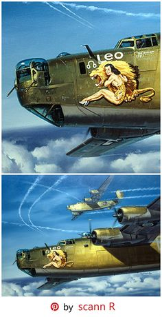 "Leo – Painting by Roy Grinnell | This image reflects the unique nose art of one of the B-24's in the Zodiac Squadron. The original nose art was painted by Phil S. Brinkman while he was assigned to the Army Air Force Station 174 in Sudbury, England. It was Captain ""Jip"" Howell, who transferred Brinkman into the 834th with the idea of adorning the B-24's with unique nose art. This resulted in the famous ""Zodiac Bombers"" including ""Leo."""