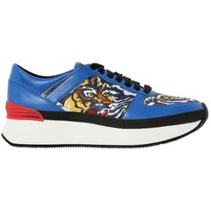 Kenzo Women 40mm Leather & Printed Neoprene Sneakers ($455) ❤ liked on Polyvore featuring shoes, sneakers, kenzo, real leather shoes, tiger print shoes, tiger print sneakers and leather trainers