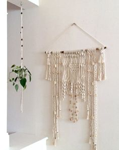 Simple White Macrame Glass Bowl Plant by Ancientvibrationshop