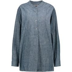 Étoile Isabel Marant - Stacy Cotton-chambray Shirt ($193) ❤ liked on Polyvore featuring blue