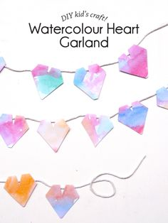 Kid's Craft Watercolour Heart Galand - Paper and Pin