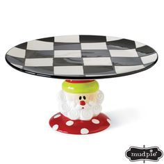 Holiday Santa Claus Ruffled Ceramic Dessert Plate Mud Pie