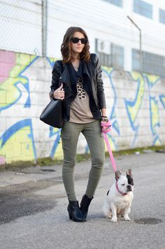leather + cargos + frenchie // LovelyPepa