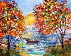 Large Original oil Sunrise Fishing on canvas by Karensfineart