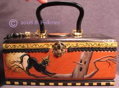 """The Lucky Dragon"" ORIGINAL OOAK  Hand Painted Oriental-style Cigar Box Purse  featuring an Oriental Shorthair Black Cat and a Lucky Dragon. By Becky Federico"