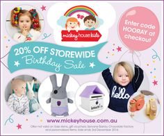 *20% Off Storewide Birthday SALE with code HOORAY at checkout -> http://www.mickeyhouse.com.au  *See exclusions   #Mickeyhousekids #onlinebabystore #designerbaby #designerkids #onlinebabyshop #Organic #Sale #toys #babies #gifts #Xmas #Christmas