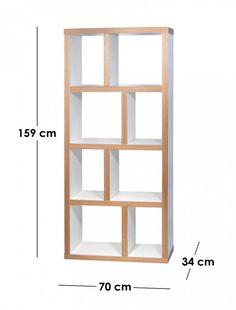 TemaHome BERLIN petite bibliothèque blanche mate et bois 4 niveaux