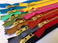Gold metal teeth zippers TEN 10 inch brass YKK by kandcsupplies  A great zipper…