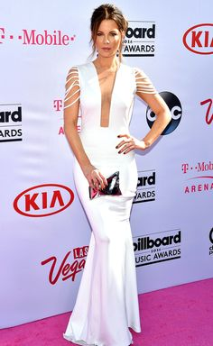 Billboard Music Awards 2016: All the Best and the Boldest Looks from the Red Carpet | People - Kate Beckinsale in a plunging white Hamel dress