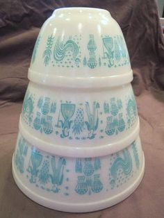 pyrex 3 Mixing Bowls Amish Rooster Design Teal Ovenwear