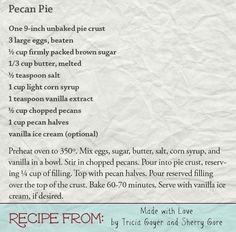 Pecan Pie - from Made with Love by @triciagoyer and @100books https://www.harvesthousepublishers.com/books/made-with-love