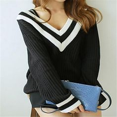 Women's Casual V Neck Pullover Loose Sweater – USD $ 18.59