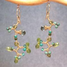Guenevere 74 Branches of peridot, green garnet, turquoise, moss aquamarine by CalicoJunoJewelry