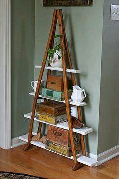 Crutches turned book shelf