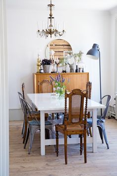 Dining table mixed chairs