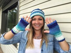 Blue Hat Hat and Mittens Handmade hat Slouchy Hat Crochet
