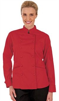 Women's Traditional Fit Chef Jacket - Fabric Covered Buttons - 100% Cotton Style #  83313 #chefuniforms #women #coats #chef