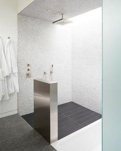 Attractive Wood Like Porcelain Tile 6x24 Plank For Shower Base. Curved House   Modern    Bathroom