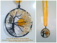 Tree of Life Necklace w/ Antique Gold Owl & Glass Moon, Genuine Citrine Adjustable 16in-18in, $40 (Smith County Owls Colors and Mascot)
