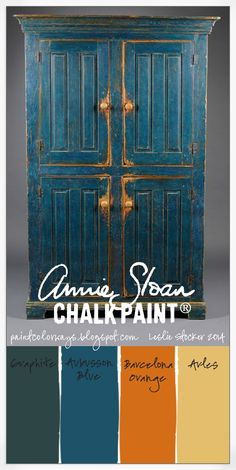COLORWAYS Antique Pine Cupboard image found on Pinterest as inspiration. Use Annie Sloan Chalk Paint® in Graphite, Aubusson Blue, Barcelona Orange, Arles for a similar finish.