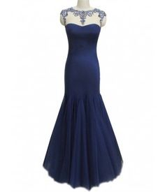 Mermaid Tulle&Satin Bateau Neckline Cap Sleeves Lace with Beading Floor Length Mother Dress M6031