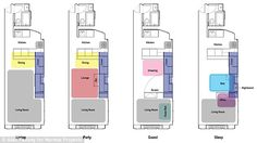 All in one: This diagram of the Manhattan studio's floor plan shows all the uses of the cabinet