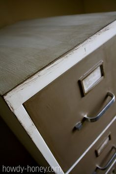 Chalk paint filing cabinet.  That's metal under that paint!
