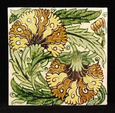 William de Morgan - Double Carnation tile