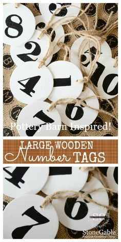 Pottery-Barn Inspired large wooden number tags.  Make them yourself for a fraction of the cost!