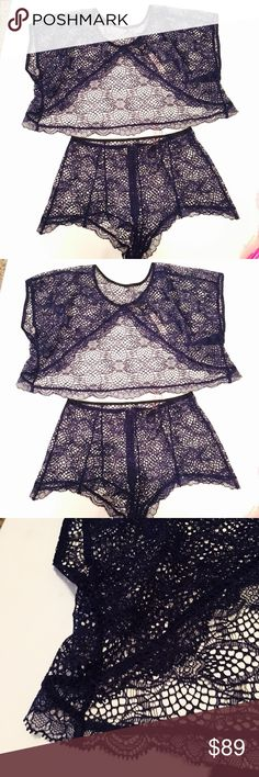 Victoria's Secret navy blue crochet set Sz small SS220- new with tags Victoria's Secret navy blue crochet swim cover set size small . Both top and bottoms are small. The top is an open back crop . The bottoms are a high waisted shorts . Victoria's Secret Swim Coverups