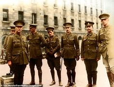 Officers Royal Dublin Fusiliers, Royal Barracks, Dublin, Colourised photo by Tom Marshall for National Museum of Ireland at Collins (formally Royal) Barracks. Ww1 History, British History, Military History, American History, British Army Uniform, British Soldier, World War One, First World, Commonwealth