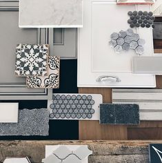 Initial interior design concept for an upcoming spec home of ours. Some light grey tones, natural wood, and fun tile patterns are on the… Home Design, Küchen Design, Design Ideas, Design Styles, Design Concepts, Interior Design Boards, Interior Design Kitchen, Mood Board Interior, Design Bathroom
