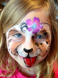 puppy with flowers Puppy Face Paint, Dog Face Paints, Girl Face Painting, Belly Painting, Animal Face Paintings, Animal Faces, Face Painting Tutorials, Face Painting Designs, Pictures To Paint