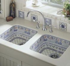 blue and white china sinks