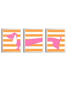 Nursery Girl Boy Art Dachshund Dog Kids Peachy Orange Pink Stripe Wall Decor Set of 3 each 8x10. $36.00, via Etsy.