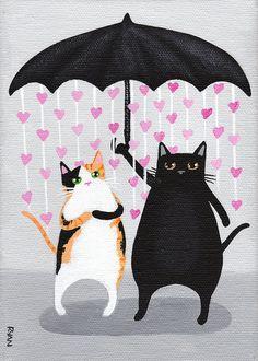 Let Love Rain Down Original Cat Folk Art by KilkennycatArt