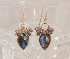 Labradorite Cabochon Drop Cluster Earrings, Sterling Silver Wire Wrap Bezel, Handmade Gemstone Bead Jewelry, Boho Chic Blue Flash Statement by AdornmentsAndFrills on Etsy