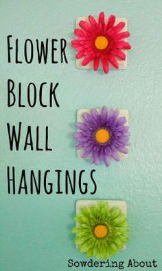 DIY Easy Flower Block Wall Hangings
