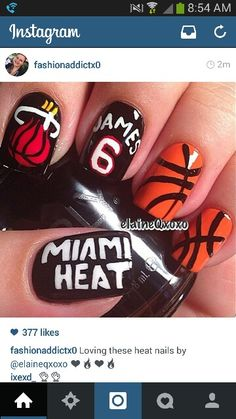 Miami Heat Basketball nails....but would rather do spurs nails! parker!