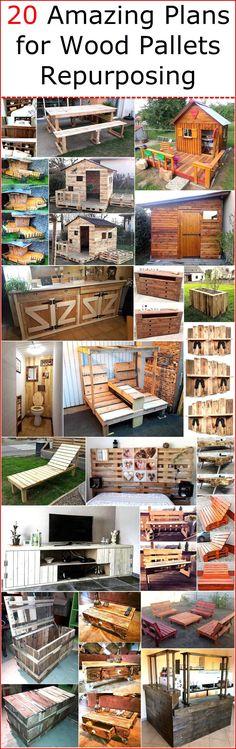 20 Amazing Plans for Wood Pallets Repurposing