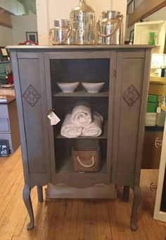 Cabinet in French Linen Chalk Paint® and dark wax. Great for your bathroom!