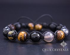 RED SPOT Lava Rock & Black Onyx Mens Bracelet Gemstone Beaded