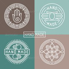 Vector hand made label in outline trendy style - hands icon and text - abstract design elements - logo design template - stock vector Massage Logo, Logo Google, Logo Mano, Craft Logo, Hands Icon, How To Make Labels, Seal Design, Hand Logo, Design Graphique