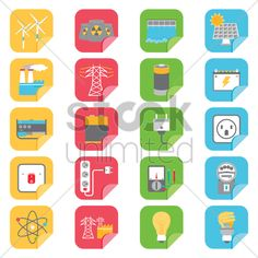 set of electrical icons Stock Vector